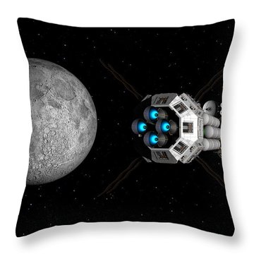 Throw Pillow featuring the digital art Uss Savannah Passing Earth's Moon by David Robinson