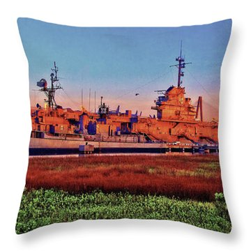 Uss York Town Throw Pillow