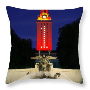 Ut Austin Tower Orange Throw Pillow by Lisa  Spencer