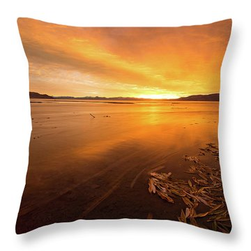Utah Lake Sunset Throw Pillow