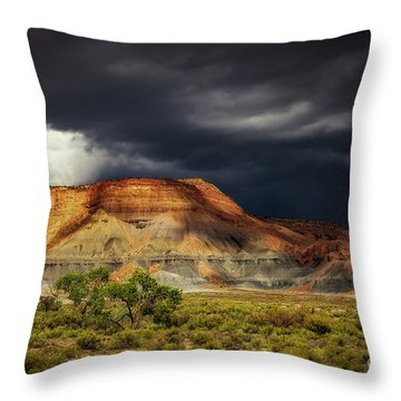 Utah Mountain With Storm Clouds Throw Pillow