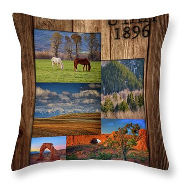 Throw Pillow featuring the photograph Utah State Map Collage by Rick Berk