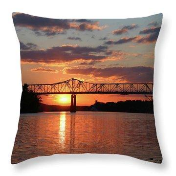 Utica Bridge At Sunset Throw Pillow
