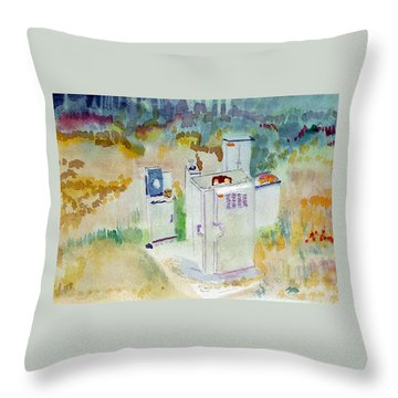 Utility Boxes Near A Forest Throw Pillow