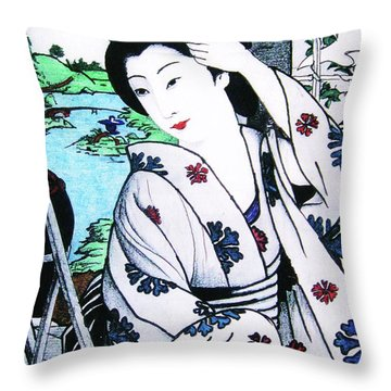 Throw Pillow featuring the painting Utsukushii Josei by Roberto Prusso