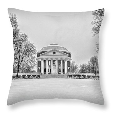 Throw Pillow featuring the photograph Uva Rotunda Winter 2016 by Kevin Blackburn