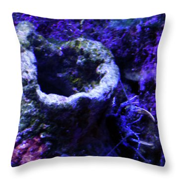 Throw Pillow featuring the digital art Uw Coral Stone by Francesca Mackenney