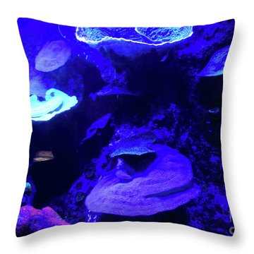 Throw Pillow featuring the photograph Uw Neon Coral by Francesca Mackenney