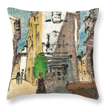 Throw Pillow featuring the painting Uzes Provence by Martin Stankewitz