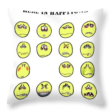 Vacancy In Happytown Throw Pillow