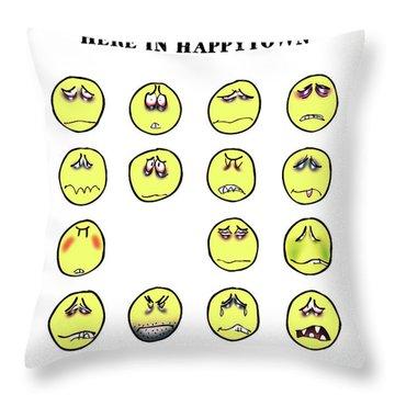 Vacancy In Happytown Throw Pillow