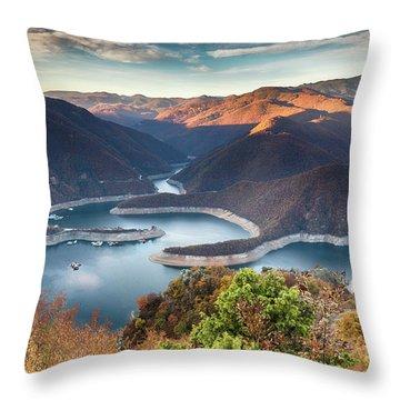 Vacha Lake Throw Pillow by Evgeni Dinev