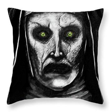 Valak The Demon Nun Throw Pillow by Taylan Apukovska