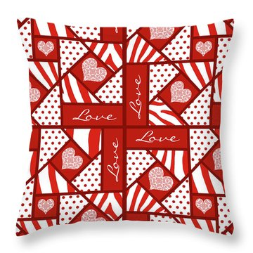 Throw Pillow featuring the digital art Valentine 4 Square Quilt Block by Methune Hively