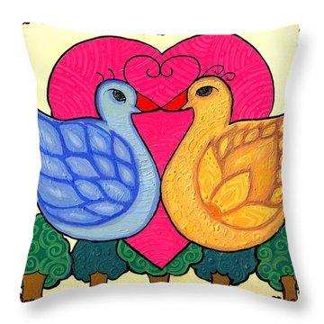 Valentine Birds Throw Pillow