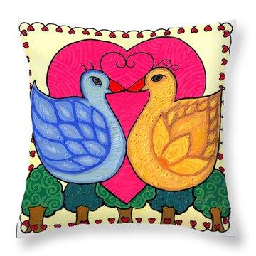Throw Pillow featuring the painting Valentine Birds by Caroline Sainis