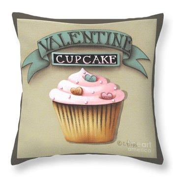 Valentine Cupcake Small Throw Pillow by Catherine Holman
