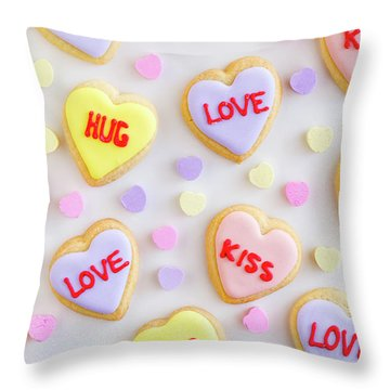 Throw Pillow featuring the photograph Valentine Heart Cookies by Teri Virbickis