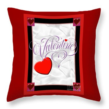 Valentine Script Throw Pillow by Melissa A Benson