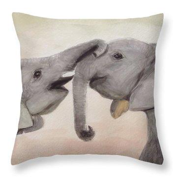 Valentine's Day Elephant Throw Pillow