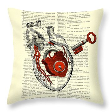 Valentine's Day Gift, Heart With Key Throw Pillow