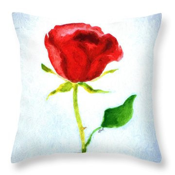 Valentine's Day Rose Throw Pillow by Claire Bull