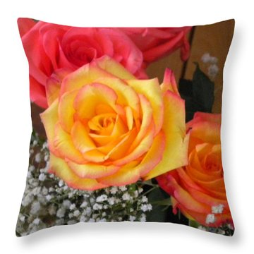 Throw Pillow featuring the painting Valentine's Day Roses 2 by Renate Nadi Wesley