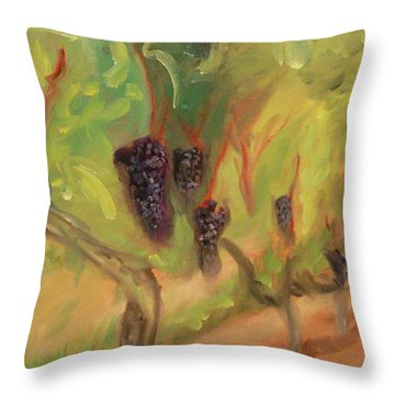 Throw Pillow featuring the painting Valhalla Vineyard by Donna Tuten