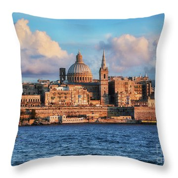 Valletta At Sunset Throw Pillow by Stephan Grixti