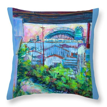 Throw Pillow featuring the painting Valley Below by Les Leffingwell