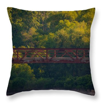 Valley Brook Bridge Throw Pillow