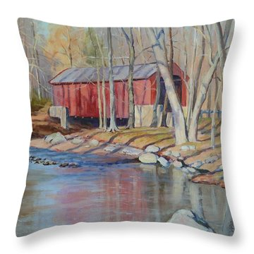 Valley Forge Covered Bridge Throw Pillow
