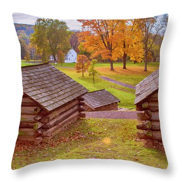 Valley Forge Huts In Fall Throw Pillow
