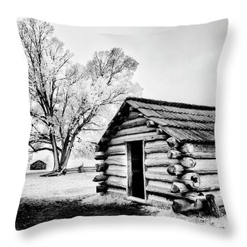 Throw Pillow featuring the photograph Valley Forge Winter Troops Hut                           by Paul W Faust - Impressions of Light