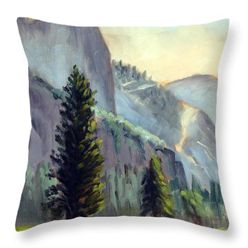 Valley Glow Yosemite Np Throw Pillow by Karin  Leonard