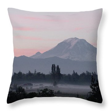 Valley Mists Throw Pillow by Shirley Heyn