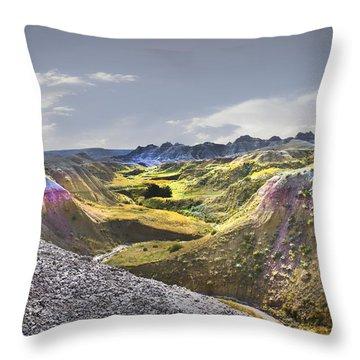 Valley Of Beauty,badlands South Dakota Throw Pillow