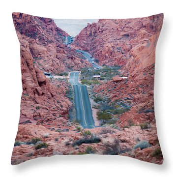 Valley Of Fire Drive Throw Pillow by Rae Tucker