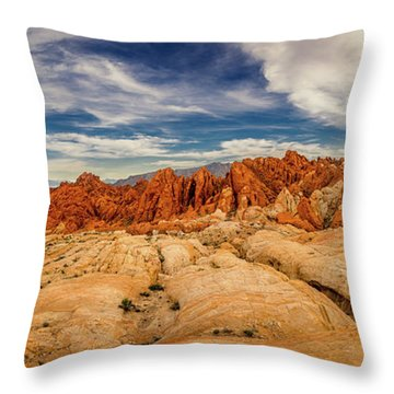 Throw Pillow featuring the photograph Valley Of Fire Panorama by Rikk Flohr