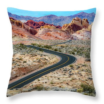 Road Through The Valley Of Fire Throw Pillow