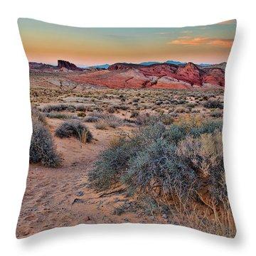 Valley Of Fire Sunset Throw Pillow