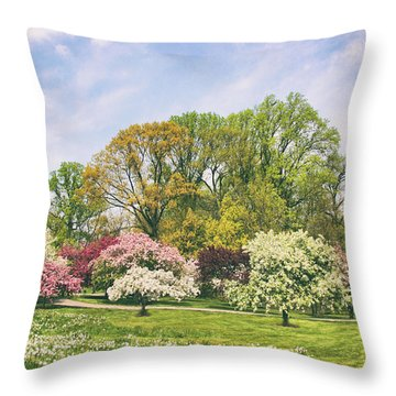 Throw Pillow featuring the photograph Valley Of The Daffodils by Jessica Jenney