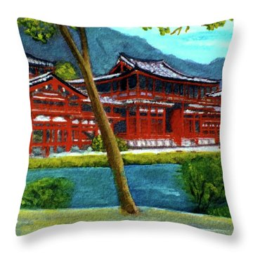 Valley Of The Temples Buddhist Temple #73 Throw Pillow by Donald k Hall