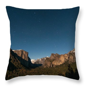 Valley View By Moon Light Throw Pillow