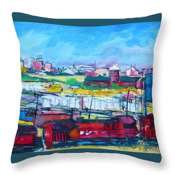Throw Pillow featuring the painting Valley Yard by Les Leffingwell
