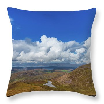Throw Pillow featuring the photograph Valleys And Mountains In County Kerry On A Summer Day by Semmick Photo