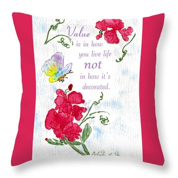 Throw Pillow featuring the painting Value by Belinda Landtroop