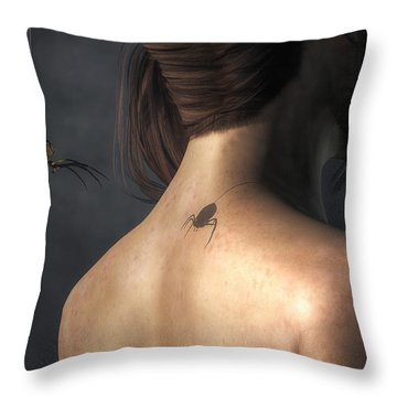 Vampire Spider Throw Pillow by Daniel Eskridge