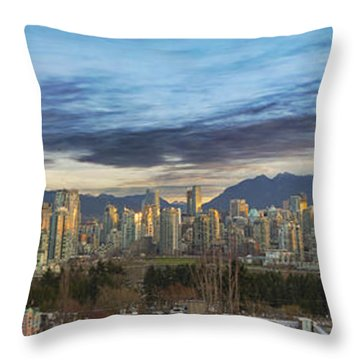 Van City Sunrise Throw Pillow by David Gn