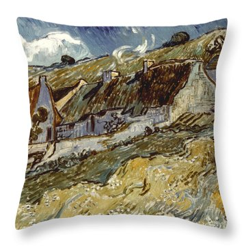 Van Gogh: Cottages, 1890 Throw Pillow by Granger